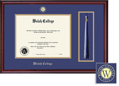 Framing Success Classic Diploma Frame with Tassel, Dbl Matted in Burnished Cherry Finish. Bachelors