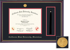 Framing Success Windsor Dip Frame, Black & Red Mat in a High Gloss Cherry Finish, Gold Inner Bevel