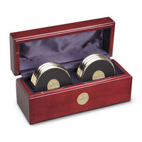 6 Gold Coasters in Rosewood Box