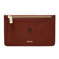 Fossil Leather Logan Card Case  Brown