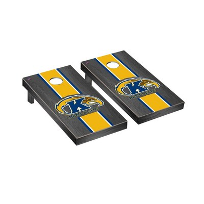 Kent State Golden Flashes Regulation Cornhole Game Set Onyx Stained Stripe Version