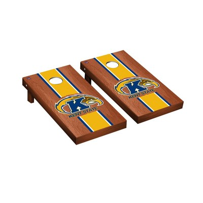 Kent State Golden Flashes Regulation Cornhole Game Set Rosewood Stained Stripe Version