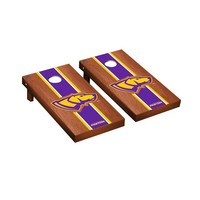 Wisconsin Stevens Point Pointers Regulation Cornhole Game Set Rosewood Stained Stripe Version