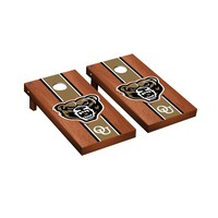 Oakland Golden Grizzlies Regulation Cornhole Game Set Rosewood Stained Stripe Version