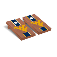 West Virginia Mountaineers Regulation Cornhole Game Set Rosewood Stained Stripe Version