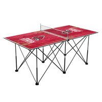 Ball State Cardinals Pop Up Table Tennis 6ft Weathered Design