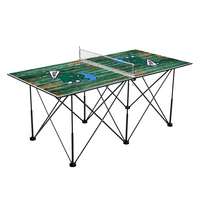 Tulane University Green Wave Pop Up Table Tennis 6ft Weathered Design