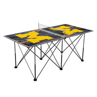 Michigan Wolverines Pop Up Table Tennis 6ft Weathered Design