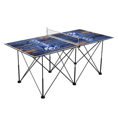 Central Connecticut State University Blue Devils Pop Up Table Tennis 6ft Weathered Design