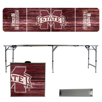 Mississippi State University Bulldogs 8 Foot Portable Folding Tailgate Table Weathered Version