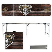 Oakland University Golden Grizzlies 8 Foot Portable Folding Tailgate Table Weathered Version