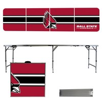 Ball State Cardinals 8 Foot Portable Folding Tailgate Table Stripe Version
