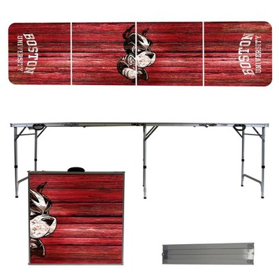 Boston University Terriers 8 Foot Portable Folding Tailgate Table Weathered Version