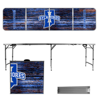 Indiana State University Sycamores 8 Foot Portable Folding Tailgate Table Weathered Version