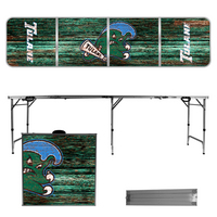 Tulane University Green Wave 8 Foot Portable Folding Tailgate Table Weathered Version