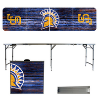 San Jose State University Spartans 8 Foot Portable Folding Tailgate Table Weathered Version