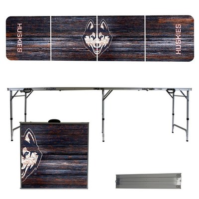 Connecticut UCONN Huskies 8 Foot Portable Folding Tailgate Table Weathered Version