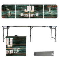 Jacksonville University Dolphins 8 Foot Portable Folding Tailgate Table Weathered Version