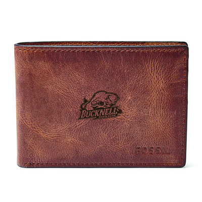 Fossil Leather Derrick Front Pocket Bifold  Brown