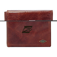 Fossil Leather Ryan RFID Flip ID Bifold  Dark Brown