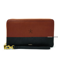 Fossil Leather Logan RFID Zip Around Clutch  Black