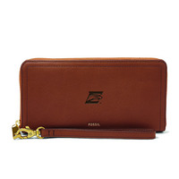 Fossil Leather Logan RFID Zip Around Clutch  Brown