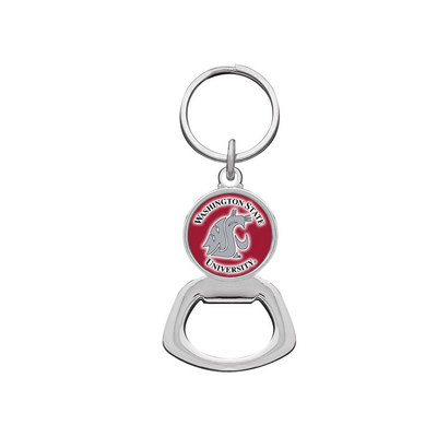 Washington State Cougars Silver Tone Bottle Opener Keychain