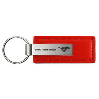 SMU Mustangs Leather Strip Key Tag