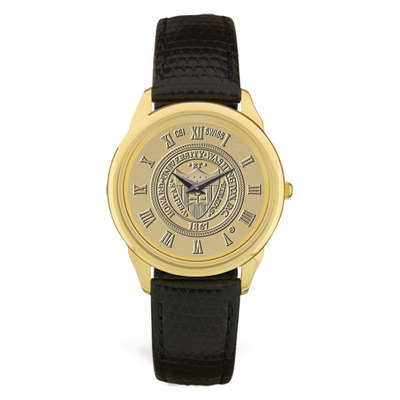 Mens Black Leather Gold Wristwatch