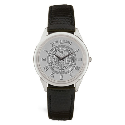 Mens Black Leather Silver Wristwatch