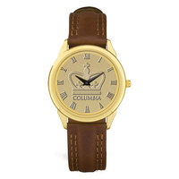 Mens Brown Leather Strap Gold Wristwatch