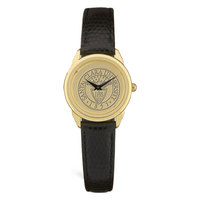 Ladies Black Leather Strap Gold Wristwatch