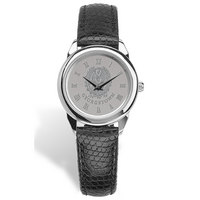 Ladies Black Leather Strap Silver Wristwatch
