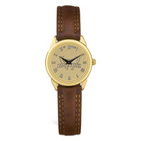 Ladies Brown Leather Strap Gold Wristwatch