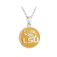 Yellow LSU Tiger Eye Pendant