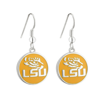 Yellow LSU Tiger Eye Earrings