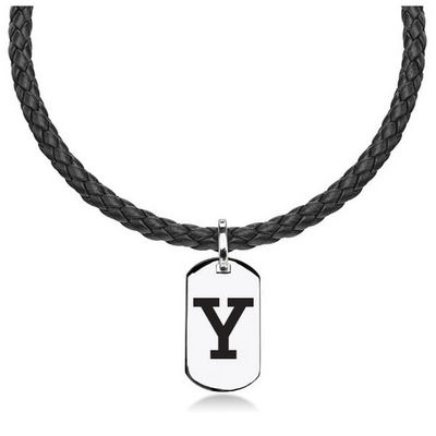 M.LaHart Leather Necklace with Sterling Dog Tag