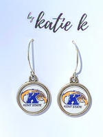 KSU White Charm Earrings