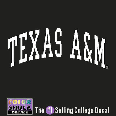 Texas am aggies color shock school name decal