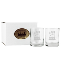 Set of 2 Etched 14 oz Double Old Fashion