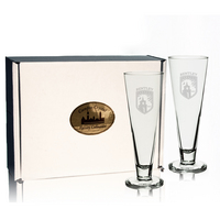 Set of 2 Etched 16 oz Pilsner Beer Glass