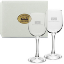 Set of 2 Etched 12 oz White Wine Glasses