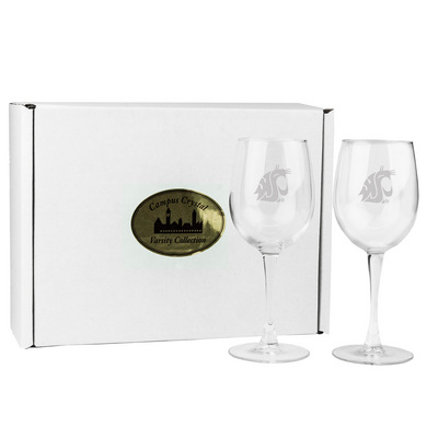 Set of 2 Etched 12 oz White Wine Glasses (Online Only)