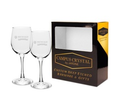 Set of 2 Crystal White Wine Glasses Anniversary