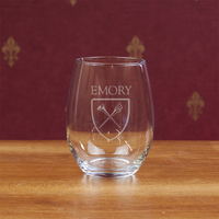 Emory Eagles Campus Crystal Stemless Wine Glass