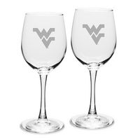 Set of 2 Deep Etched White Wine Glasses
