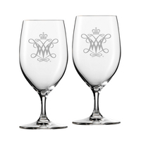 Set of 2 Etched 17.5 oz Riedel Bar Footed Beer Glass