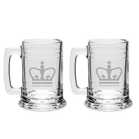 Set of 2 Etched 15 oz Beer Tankard Glasses (Online Only)
