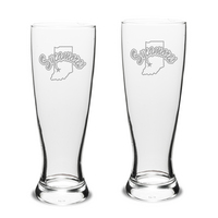 Set of 2 Etched 23 oz Pilsner Glasses
