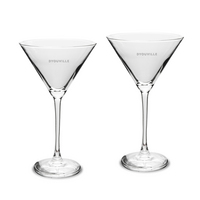 Set of 2 Etched 12 oz Martini Glasses (Online Only)